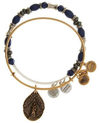 Alex and Ani French Royalty Beaded Guardian Angel Expandable Wire Bangle - Set of 2