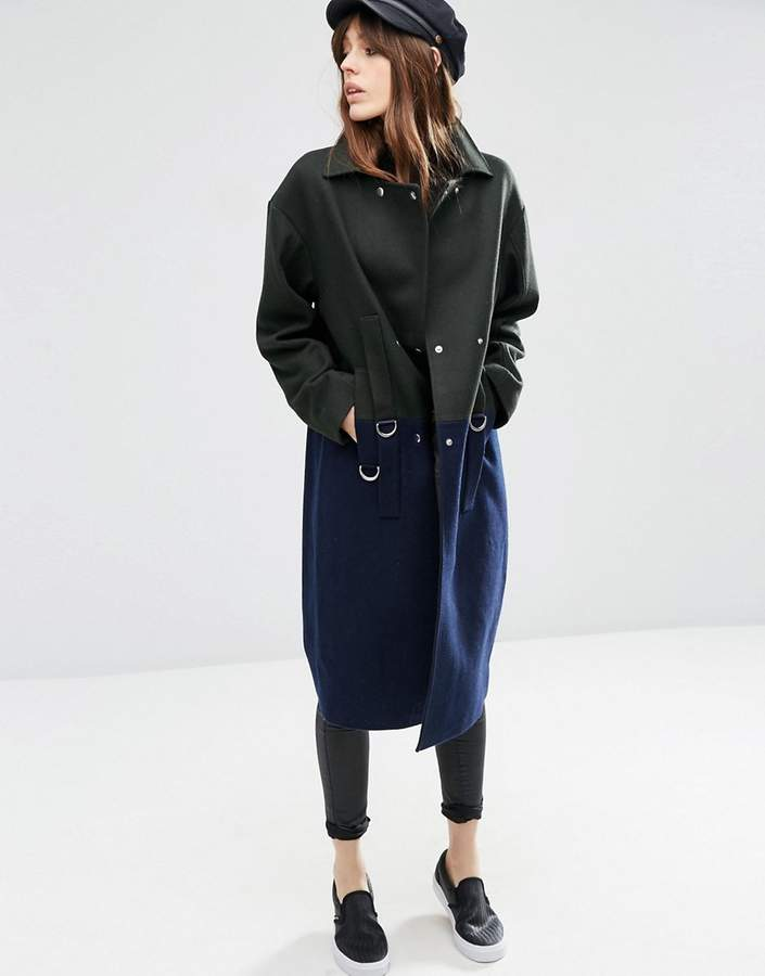 Asos ASOS Oversized Wool Blend Coat in Color Block with D Ring Detail