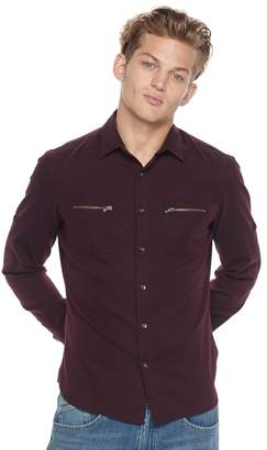 Rock & Republic Big & Tall Classic-Fit Herringbone Stretch Roll-Tab Button-Down Shirt