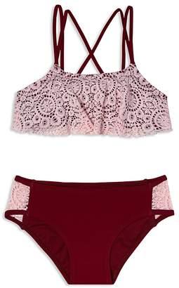 Gossip Girl Girls' Festival Crochet-Trim 2-Piece Swimsuit - Big Kid