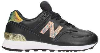 New Balance Wl 574 Black Leather Sneakers