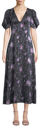 LoveShackFancy Delaney Floral Button-Front Silk Long Dress