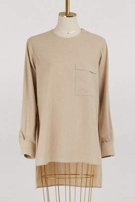 Celine Crew neck top in light cashmere canvas