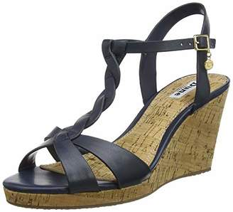 Dune Women's Koala T-Bar Sandals, Blue Navy-Leather, 8 (41 EU)