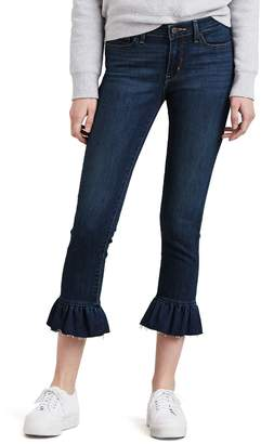 Levi's Levis Women's 711 Styled Detail Ruffle Mid-Rise Crop Jeans