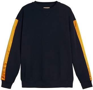 Burberry Satin Stripe Cotton Blend Sweatshirt