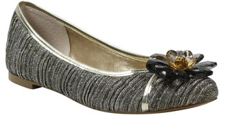 J. Renee Panyin Crystal Flower Metallic Skimmer Flat