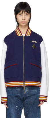 DSQUARED2 Navy and White Bomber Jacket