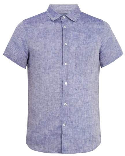 FRESCOBOL CARIOCA Point-collar short-sleeved linen shirt