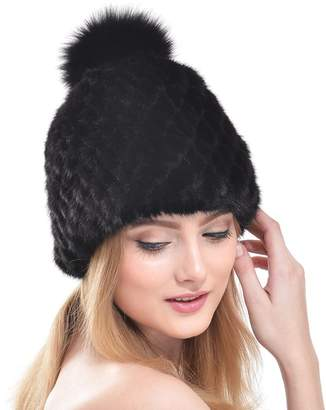 ab18529d418 at Amazon Canada · OLLEBOBO Women s Knitted Hat for Winter Elegant Fluffy  Genuine Mink Fur