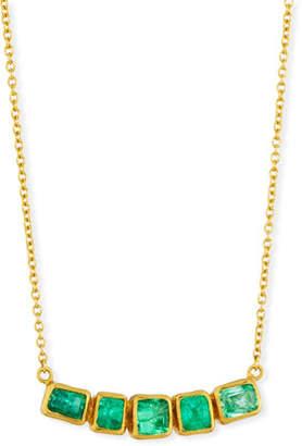 Gurhan Curved Emerald Bar Pendant Necklace