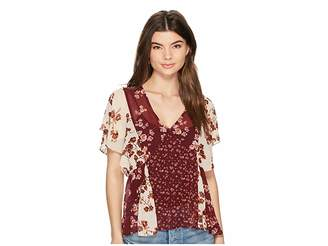 Lucky Brand Mix Print Floral Top Women's Short Sleeve Pullover