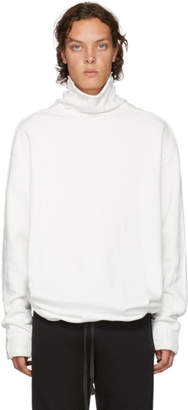 D by D White Raw Cut Turtleneck Sweatshirt