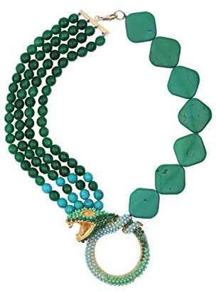Katerina Psoma Women's Green Agate Chaolite Snake Necklace of Length 44cm
