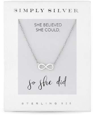 Jon Richard Jewellery Sterling Silver 925 Silver Carded Boxed Infinity Short Pendant Necklace