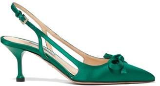 Prada Bow Trim Slingback Satin Pumps - Womens - Green