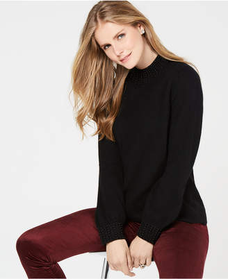 Charter Club Faux-Pearl-Embellished Pure Cashmere Sweater, In Regular & Petite Sizes