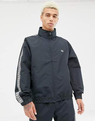 Obey Eyes track jacket with logo taping in black