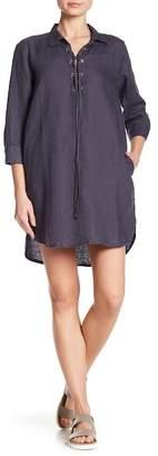 Allen Allen Lace Up 3/4 Length Sleeve Linen Dress