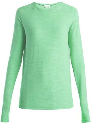 Raey Long Sleeved Slubby Cotton Jersey T Shirt - Womens - Green