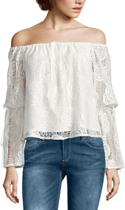 BUFFALO JEANS i jeans by Buffalo Lace Off The Shoulder Top $60 thestylecure.com
