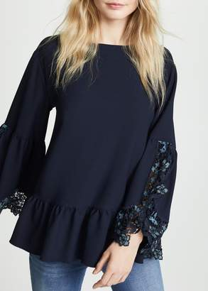 See by Chloe Lace Trim Top In Sapphire