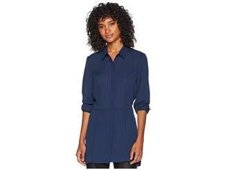BCBGMAXAZRIA Pleated Button Down Tunic Dress Women's Dress