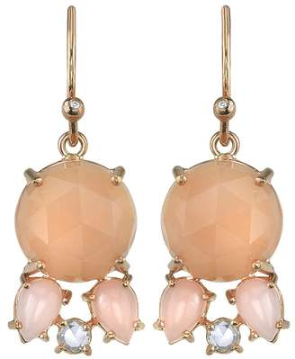Irene Neuwirth Peach Moonstone, Pink Opal And Diamond Drop Earrings