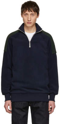 Harmony Navy and Green Sylvio Half-Zip Sweater