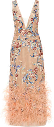 Marchesa Feather-Trimmed Floral-Embroidered Tulle Midi Dress Size: 4