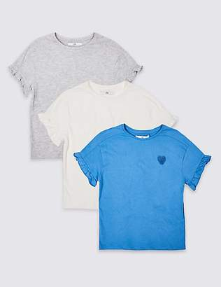 Marks and Spencer 3 Pack Frill Sleeve T-Shirts (3-16 Years)