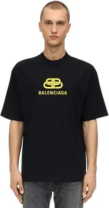 Balenciaga New Bb Cotton Jersey T-Shirt