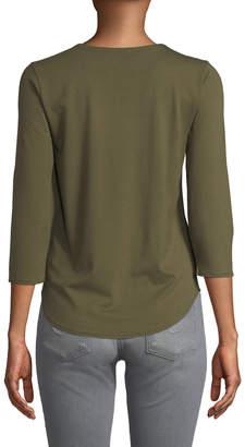 Neiman Marcus 3/4-Sleeve Crewneck Shirttail Hem Tee