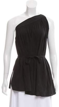 Helmut Lang Silk One-Shoulder Top Black Silk One-Shoulder Top