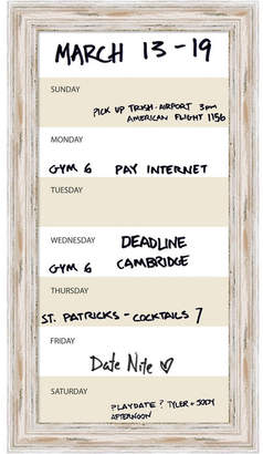 BEIGE Amanti Art Week Calendar Vertical 15x27 Framed Glass Dry Erase Board