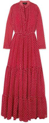 Alexia Swiss-dot Chiffon Maxi Dress - Red