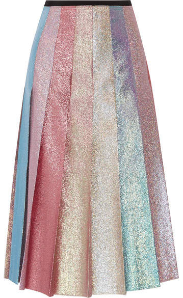 Gucci - Pleated Lamé Midi Skirt - Pastel pink