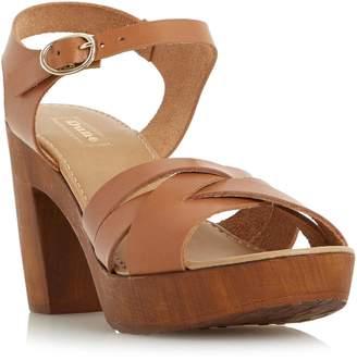 Dune Jani criss cross wooden block sandals