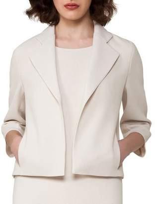 Akris Bracelet-Sleeve Cropped Wool-Crepe Jacket