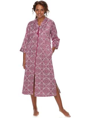 Miss Elaine Women's Essentials Floral Tile Satin Robe