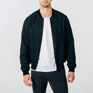 DSTLD Mens Linen Bomber Jacket in Black