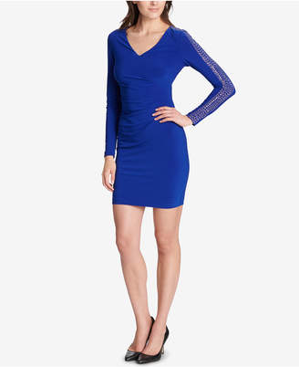 GUESS Studded Ruched Sheath Dress