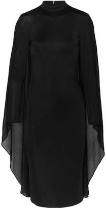 Tom Ford Cape-effect Satin-jersey And Chiffon Dress - Black