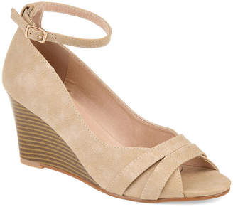 Journee Collection Womens Palmer Pumps Buckle Peep Toe Wedge Heel