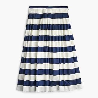 J.Crew Petite pleated satin skirt in stripe
