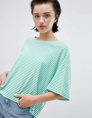 Weekday textured stripe t-shirt in green and white stripe