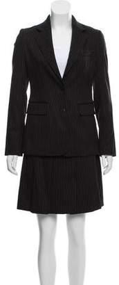 Burberry Pinstripe Wool Skirt Suit