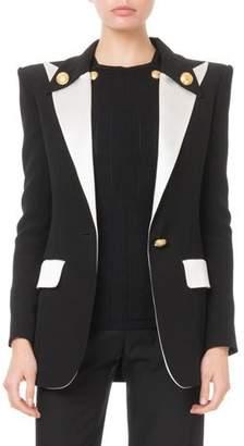 Balmain Colorblocked Satin-Lapel Long Blazer Jacket