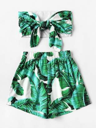 Shein Plus Palm Tree Print Knot Tube Top With Shorts