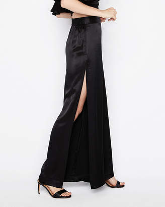 Express Petite High Waisted Side Slit Wide Leg Pant